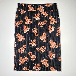 LuLaRoe IVY Midi Length Pencil Stretch Skirt Black Grey Stripes Pink Flowers 3XL