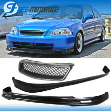 Fits 96-98 Honda Civic 3Dr Front + Rear Bumper Lip + Type R Style Grill