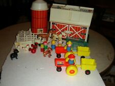 vintage fisher price play family farm barn silo and little people extras