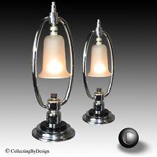 New listing Pair Vtg 1930's Petite Machine Age Art Deco Glass Bell Chrome Lamps Restored