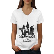 Wellcoda Best Place Weed Pot Womens V-Neck T-shirt, Best Graphic Design Tee