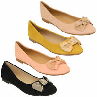 Ladies Ballerina Womens Suede Look Pumps Flat Slip On Ballet Knot Shoes Summer
