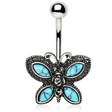 """VINTAGE BUTTERFLY BELLY BUTTON RING STEEL NAVEL PIERCING JEWELRY (14G 3/8"""")"""