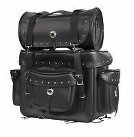 Motorcycle Sissy Bar Bag Touring Luggage w/Studs 2 Piece Bag Set Harley Cruiser