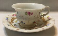 Meissen B Form Strewn Flowers & Raised Gold Demitasse/Espresso Cup and Saucer