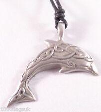 Pewter Pendant p303 Celtic Knots Dolphin