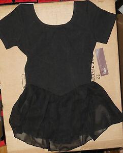 BLOCH  BLACK SHORT SLEEVE BALLET DANCE DRESS  FULLY FRONT LINED CL5342 Tiffany
