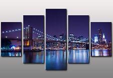 Quadro Moderno 5 Pezzi Cm 150x90 NEW YORK SKYLINE Stampa su Tela Arredo Casa