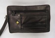 FAB VINTAGE BLACK LEATHER TRAVEL DOCUMENT CLUTCH BAG HAND SIDE STRAP UNISEX
