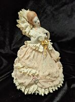 Lovely Detailed Antique Dresden Porcelain Lace Figurine 24k Gold Accents, Sweet!