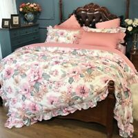 Blossom Floral Duvet Cover Set Silky Egyptian Cotton Bedding Set Bed Sheet  4Pcs