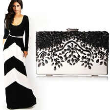 Black White Women Pearl Vintage Beaded Square Clasp Evening Clutch Crossbody Bag