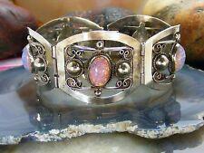 "Old 1940's Vintage Mexico Alpaca Silver FOIL OPAL Fancy Link Bracelet 7"""