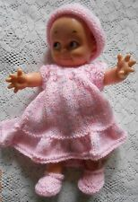 "Doll Clothes Hand-knit Bright Pink Dress Fits Am Char 10"" to 11"" Kewpie Cameo"