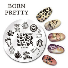 BORN PRETTY Nail Art Stamping Plate  Image Template DIY Coffee Time Design BP-91
