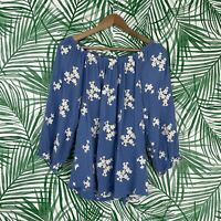 Soft Surroundings Avignon Blue Floral Embroidered Off The Shoulder Blouse Medium