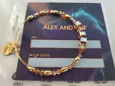 Alex and Ani GLOW SWAROVSKI Shiny Gold Beaded Bangle New W/ Tag Card & Bag