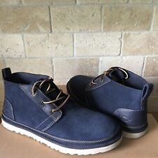 UGG Neumel Navy Blue Unlined Leather Desert Chukka Ankle Boots Shoes Size 8 Mens