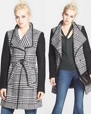 New Womens Guess Wool Blend Plaid Wrap Coat Black White Silver Size Small
