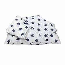 Bacati Stars Muslin 3 Piece Toddler Bedding Sheet Set, Navy
