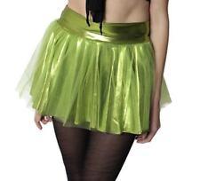 Womens Green Metallic Tinkerbell Tutu Costume Skirt Short Sexy Halloween S M L