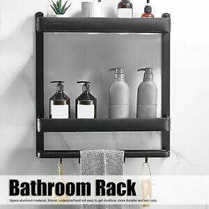 2Tier Wall Mounted Hotels Bathroom Towel Rail Holder Storage Rack Shelf Aluminum