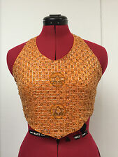 Anand Jon handbeaded orange,gold halter neck top excellent condition silk lined.