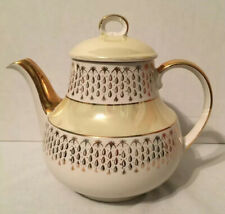 Vintage Gibsons Staffordshire England Fine China Teapot Gold Trim