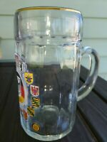 """bundesrepublik deutschland glass beer stein austria 8"""" tall"""