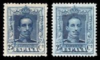 SPAIN 1922  ☆ ALFONXO XIII 25Cs Ed. NE-23-24 w-SLAB ☆  ☆ MLH ☆ NOT ISSUED