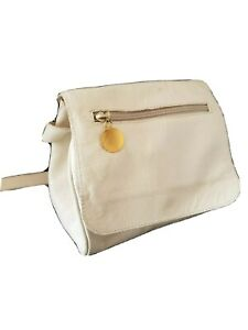 Retro Vtg Women's Off White Pebbled Genuine Leather Italy Shoulder Crossbody Bag