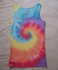 XL Tank top tie dye hippy ribbed womens peach yellow blue pastel rainbow 16 18