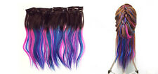 "12"" - 26"" Full Set Clip in Real Remy Human Hair Extensions Pink Blue Aqua Teal"