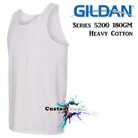 Gildan White Basic Tank Top Singlet Shirt S-3XL Men's Heavy Cotton premium