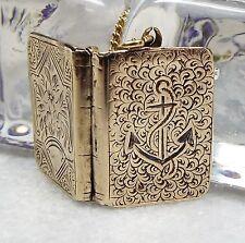 Antico Vittoriano oro dorati argento Sterling INCISI ancoraggio BOOK Ciondolo Collana