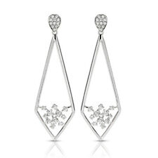 14K Solid White Gold Dangle Womens Earrings 0.50Ct Natural Diamond Womens Studs