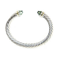 DAVID YURMAN Cable Classic Bracelet with Prasiolite & 14K Gold 7mm $695 NEW