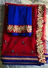 Red Net Sari Saree Blue Embroidery Zari Border /w Blouse Piece NEW