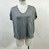 Project Social T Women's V-Neck Pocket T-Shirt Heather Grey Size M NEW Urban