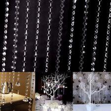 10tlg 1 Meter Kristall Kette Vorhang Clear Hochzeit Party Wohnung Deko BL