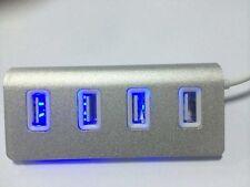 4-Port USB 2.0 Premium Aluminum USB Hub mit Power Adapter & Kabel f. Mac ,PC