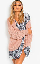 Chunky Cable Knit Bobble Bubble Sleeve Oversized Longline Cardigan Winter Jumper