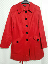 Ladies EVANS Trench Coat Size 22 Red Collar Pockets Belt Black Buttons Autumn