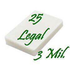 25 pk LEGAL SIZE  Laminating Laminator Pouches Sheets 9 x 14-1/2  3 Mil