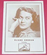 PUBLICITE PHOTO PATHE MARCONI VOIX DE SON MAITRE ELIANE EMBRUN ANNEES 1950