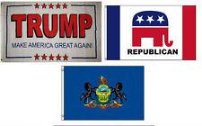 3x5 Trump White #2 & Republican & State of Pennsylvania Wholesale Set Flag 3'x5'