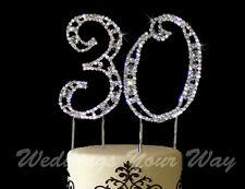 30th Birthday Rhinestone Crystal Cake Topper Number 7cm Silver Bling Diamante