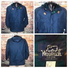 Vintage Woolrich Winter Blue Parka Tartan Lined Wool Mens Size Large WPL6635