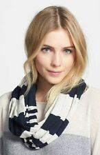 NWT! $125 VINCE. Stripe Infinity Scarf Navy Blue/ Grey O/S ***WARM****