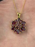 "STS Sterling Silver Chuck Clemency Rhodolite Garnet Cluster Peridot Necklace 20"""